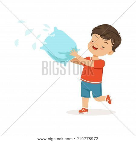 Cute little bully boy plying with pillow, feathers flying around him, hoodlum cheerful little kid, bad child behavior vector Illustration on a white background