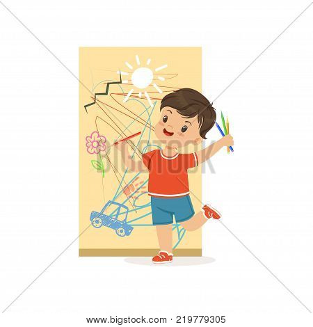 Cute little bully boy drawing on the wall, hoodlum cheerful little kid, bad child behavior vector Illustration on a white background