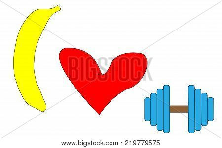 Yellow banana red heart and dumbbell. The inscription I like sports portrayed with the help of a banana a heart and a dumbbell. Vector illustration.