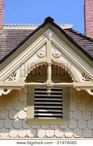 Close up of Gingerbread detail on an old house.