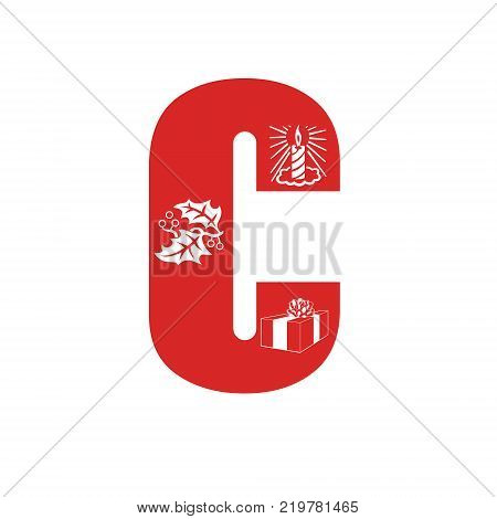 Red Christmas alphabet C with Christmas decorations