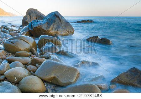 rocks awash near Punta Ala in the southern area of Tuscany Italy