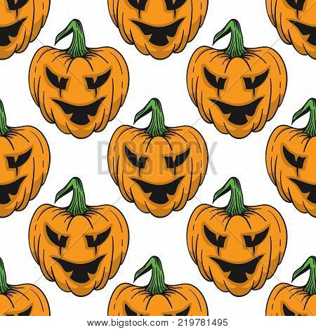 Pumpkin for Helloween seamless pattern. Vector illustration for backgrounds