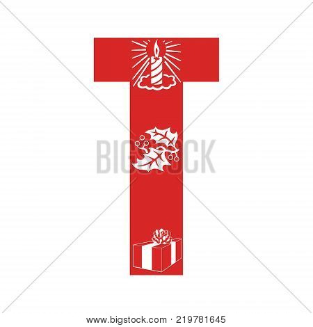 Red Christmas alphabet T with Christmas decorations