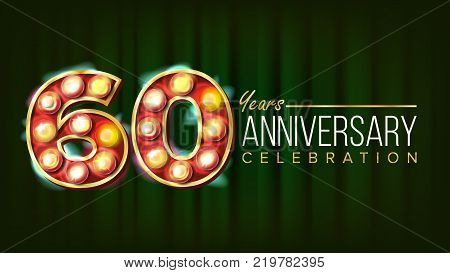 60 Years Anniversary Banner Vector. Sixty, Sixtieth Celebration. 3D Glowing Element Digits. For Flyer, Card, Wedding, Advertising Design. Green Background Illustration