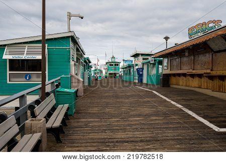 CATALINA ISLAND, CALIFORNIA - 2 NOVEMBER 2017: Wooden pier in Avalon on Catalina Island in California