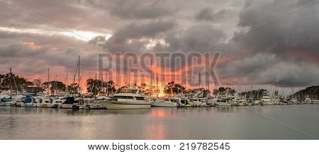 DANA POINT, CALIFORNIA - 1 NOVEMBER 2017: Sunset over the harbor at Dana Point in California