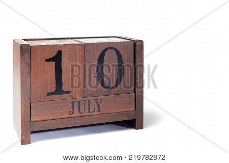 Wooden Perpetual Calendar set to July 10th