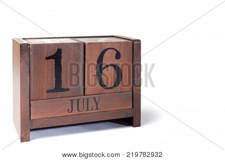Wooden Perpetual Calendar set to July 16th