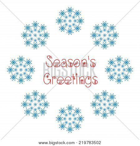 Season's greetings text in red with snowflakes