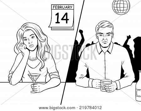Lonely people on saint valentine day coloring book vector illustration. Comic book style imitation.