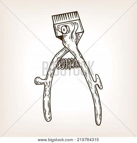 Barber tool mechanical hair clipper engraving vector illustration. Brown aged background. Scratch board style imitation. Hand drawn image.