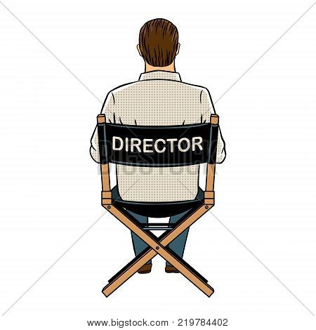 Stage director on set pop art retro vector illustration. Isolated image on white background.Comic book style imitation.