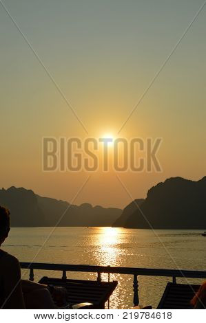 View of Halong Bay Sunset from atop a tour junk. Halong Bay Vietnam - October 2015