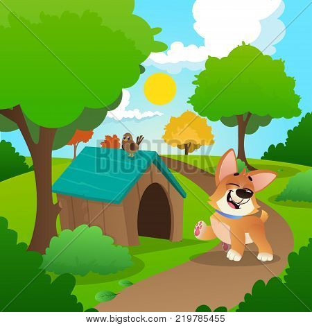 Cheerful corgi walking in park. Colorful nature landscape with green grass, trees, bushes and wooden dog s house. Sunny summer background with blue sky and white clouds. Cartoon flat vector design.
