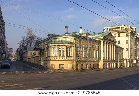 MOSCOW, RUSSIA - February 21, 2015: House-Museum Homestead of Muravyov-Apostles (or Dom-muzey Matveya Muravyeva-Apostola) on Staraya Basmannaya Street.