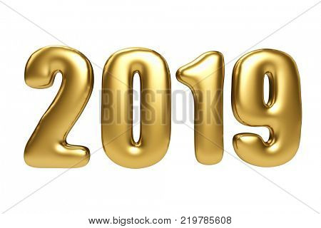 Inflated gols figures of 2019 New Year isolated on white background. 3D rendering.