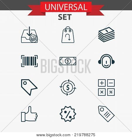 Commerce icons set with buck, dollar banknote, recommended and other price stamp elements. Isolated vector illustration commerce icons.