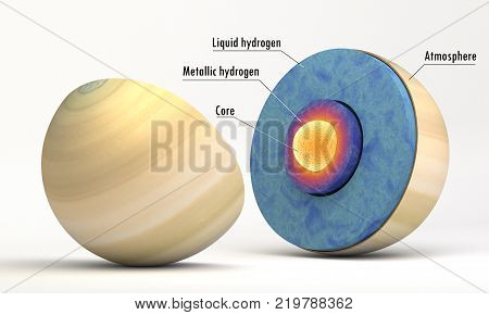 This image represents the internal structure of the Saturn planet. It is a realistic 3d rendering