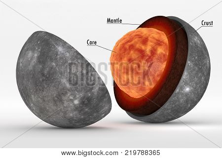 This image represents the internal structure of the planet Mercury. It is a photorealistic 3d rendering in still life representation