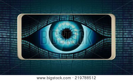 The all-seeing eye of Big brother in your smartphone concept of permanent global covert surveillance using mobile devices security of computer systems and networks privacy poster