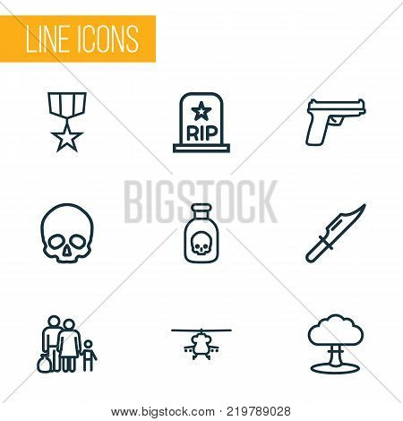 Warfare icons line style set with order, cutter, military and other weapon  elements. Isolated vector illustration warfare icons.