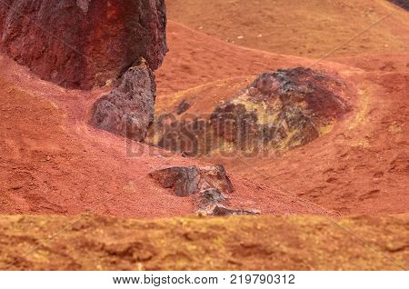 Bauxite mine raw weathered bauxite sedimentary rock on surface