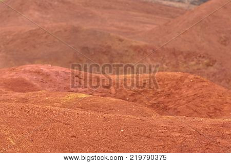 Abandoned red colored land similar to planet Mars' surface