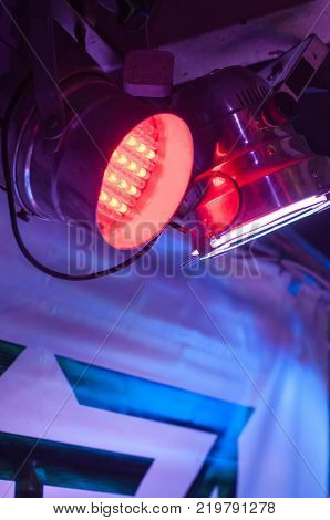 Soffit on a tripod and a ramp with bright lights for show lighting