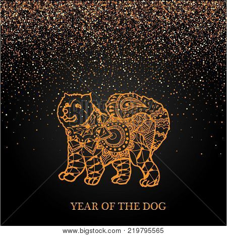 Happy new year and year dog card with golden dog in doodle style abstract lines on black background vector design. 2018 Chinese New Year. Year of the dog. Vector illustration. New Year. Gold on black.