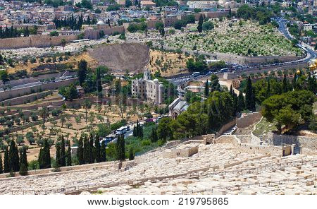 View On The Temple Mount With Its Landmarks
