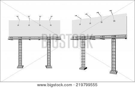 Advertising construction for outdoor advertising big billboard on support from truss. Billboard for your design.