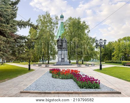 NIZHNY NOVGOROD, RUSSIA - June 5, 2017: Monument to the founder of the city the holy prince George. Nearby - his spiritual mentor St Simon Suzdalsky in the Nizhny Novgorod Kremlin.