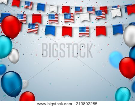 Colorful festive garlands of USA flags and air balloons. Decorative patriotic symbols for national holidays in America. Vector banner for celebrate American Independence, labor, patriot day.