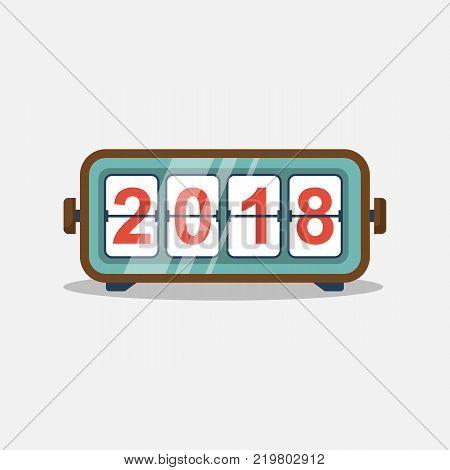 Happy New Year 2018. Analog retro timer. 2018 flip clock. Isolated on white background. Vector illustration flat design. Old clock.