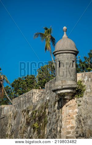 Garita or watchtower on old Spanish fort in San Juan, Puerto Rico.