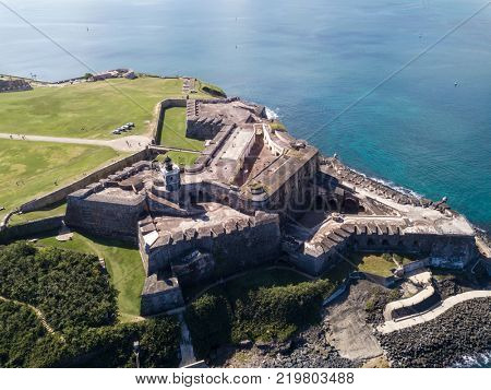 Aerial view of El Morro fort in San Juan, Puerto Rico.