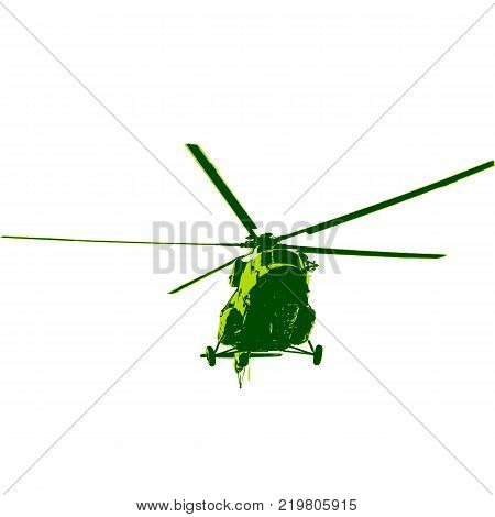 The Russian army Mi-8 helicopter. Vector illustration.
