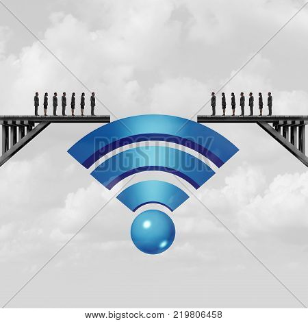 Internet connectivity and web connection concept or online solution symbol as a wifi symbol bridging the gap to connect society with 3D illustration elements.