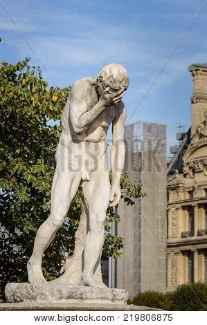 Statue Of Cain In The Garden Of Tuileries