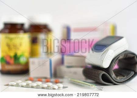 Medicine on the table. Pills and tablets. Medical concept