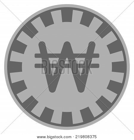 Korean Won grey casino chip pictograph. Vector style is a gray silver flat gamble token item.