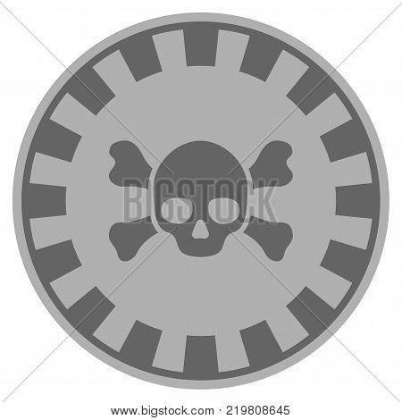 Skull Crossbones gray casino chip pictogram. Vector style is a gray silver flat gambling token item.