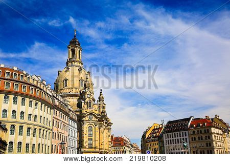 The Neumarkt square and Frauenkirche (Church of Our Lady) is Lutheran Church of Saxony at summer, old town in Dresden, Germany. Architecture baroque buildings, external structure. Tourist destination.