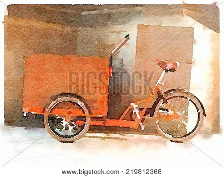 Digital watercolor painting of a Dutch bicycle with a wooden front trailer for carrying items around. With space for text.