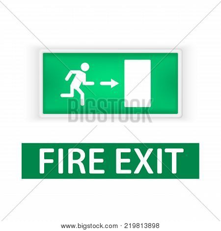 Lightbox with the emergency exit sign, and a sign in the fire Out, indicating the direction of exit in case of fire. Fire protection signs. Isolated on white background.