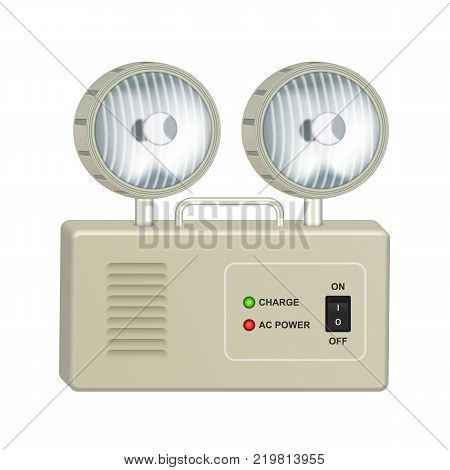 Emergency lighting with rechargeable battery and two halogen lamps. Isolated on white background.