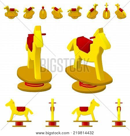 Children's swing horse on a spring, in different projections from different angles, isometric, flat. Isolated on white background.