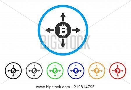 Bitcoin Directions rounded icon. Style is a flat grey symbol inside light blue circle with additional colored versions. Bitcoin Directions vector designed for web and software interfaces.