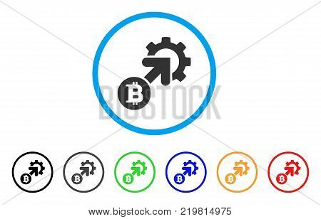 Bitcoin Integration Cog rounded icon. Style is a flat gray symbol inside light blue circle with additional colored variants. Bitcoin Integration Cog vector designed for web and software interfaces.